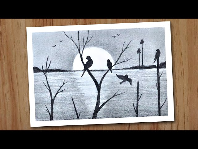 Play this video Sunset scenery drawing in pencil for beginners step by step, Pencil drawing for beginners