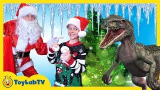 Giant Christmas Tree Hunt for Christmas! Dinosaur Toys & Decorating for Christmas with Santa!