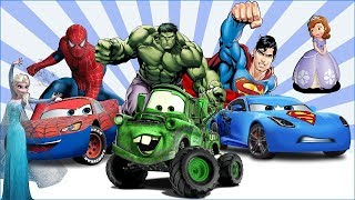 Disney Cars Upgrated to Superheroes with Magic Wand. Funny Cars Cartoons with Alien Dance for Kids