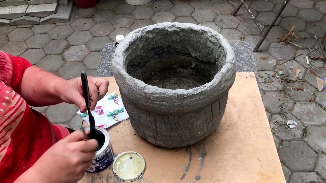 как залить вазон из бетона