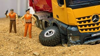 Stunning Construction Toys Dump Truck, Low Loader and JCB Backhoe Tractor Excavator Bruder!