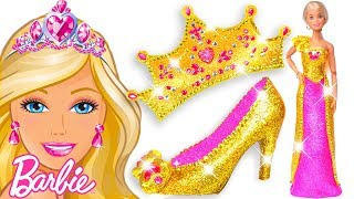 Play Doh Making Colorful Sparkle Disney Princess Barbie Dress High Heels Crown Castle Toys