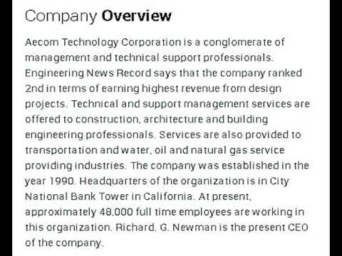 Aecom Technology Corporation Corporate Office Contact Information
