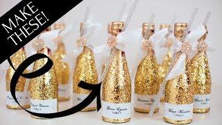 Bottle Bling! Sparkly Glitter Champagne Bottle Wedding Decoration
