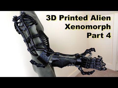 XRobots - 3D Printed Alien Xenomorph Cosplay PART4 - Upper printed in ABS and Ninjaflex rubber