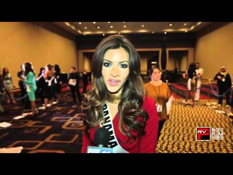 MIss Panama Gladys Brandao Amaya sends kisses and invites viewers to watch MIss Universe