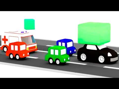Мультики для мальчиков - 4 машинки ловят черный автомобиль