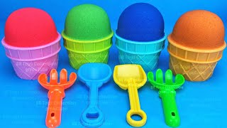 4 Color Kinetic Sand in Ice Cream Cups | Surprise Toys Yowie Chupa Chups Kinder Surprise Eggs