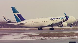 WestJet Boeing 767-338ER (C-GOGN) Taxi & Takeoff at Calgary Airport