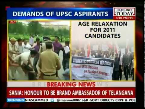 UPSC aspirants protest against the civil services aptitude test