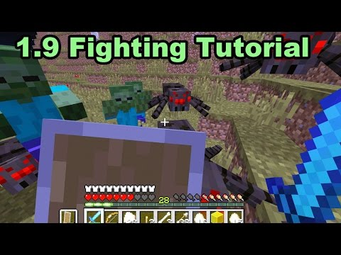 How to Fight in Minecraft 1.9 Update Tutorial - Shield and Sword Attacks