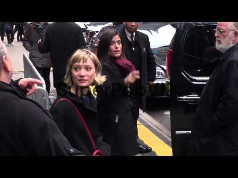 Mia Wasikowska exits Good Morning America and goes to her...
