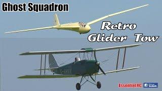 RETRO GLIDER TOW (Ghost Squadron) 50% De Havilland TIGER MOTH BIPLANE & 50% ORLIK 3 GLIDER