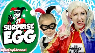 HARLEY QUINN Surprise Egg with Lego Batman Movie Toys + DC Super Hero Girls & Harley Quinn Cosplay