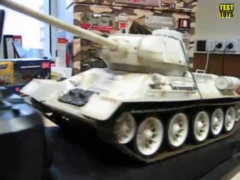 Радиоуправляемый танк Т34, 1:16, зимний, ИК пушка. RC4809