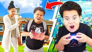 Kid SKIPS SCHOOL To Play Fortnite Chapter 2 For The First Time... *ALMOST GETS CAUGHT!*