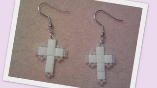 Love of religion beaded Earrings Beading Tutorial by HoneyBeads1 (Photo tutorial with tila beads)