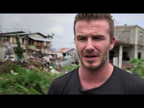 Soccer Aid 2014: David Beckham meets child survivors of the Philippines typhoon