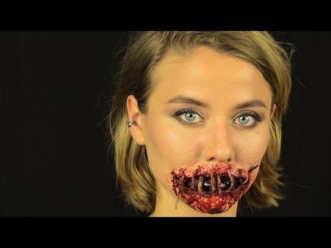 Как зашить себе рот без боли Cosplay Отличный Хоррор макияж для Halloween 2016 2017