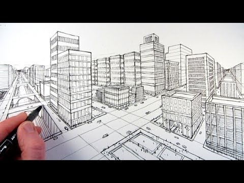 How to draw a city using two point perspective youtube for Exterior 1 point perspective