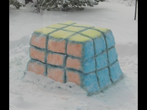 Watch Rubik's Cube Snow Sculpture