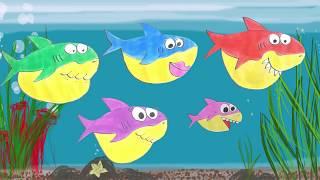 Bé học vẽ cá mập | Vẽ gia đình baby shark