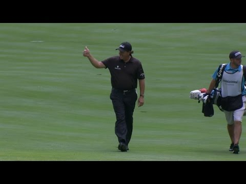 Phil Mickelson's sensational hole out for birdie at Bridgestone
