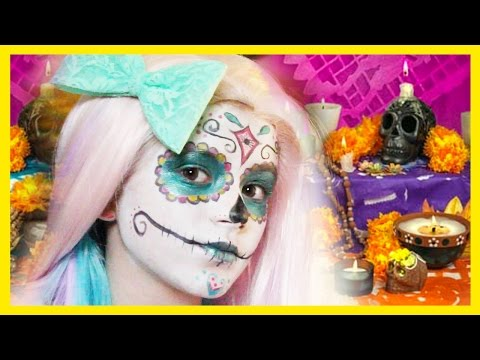 SUGAR SKULL MAKEUP TUTORIAL!    HALLOWEEN OR DAY OF THE DEAD!     KITTIESMAMA