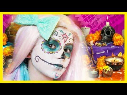 Sugar Skull Makeup tutorial    Halloween Dia De Los Muertos     KITTIESMAMA