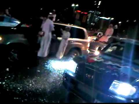 National Day 39  , Abu Dhabi , Land Cruiser Revving its engine with Back Fire