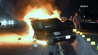 Watch Photojournalists Rescue Driver After Fiery Freeway Crash