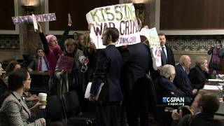 Code Pink Tries To Arrest jew Oligarch Gopher Kissenger at Armed Services Committee Hearing