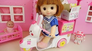 Baby doll bike delivery surpise toys and picnic car play