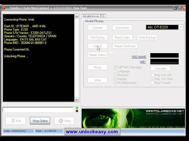 Unlock Alcatel E220 con Polar Box 2.9.3 -- unlockeasy.com