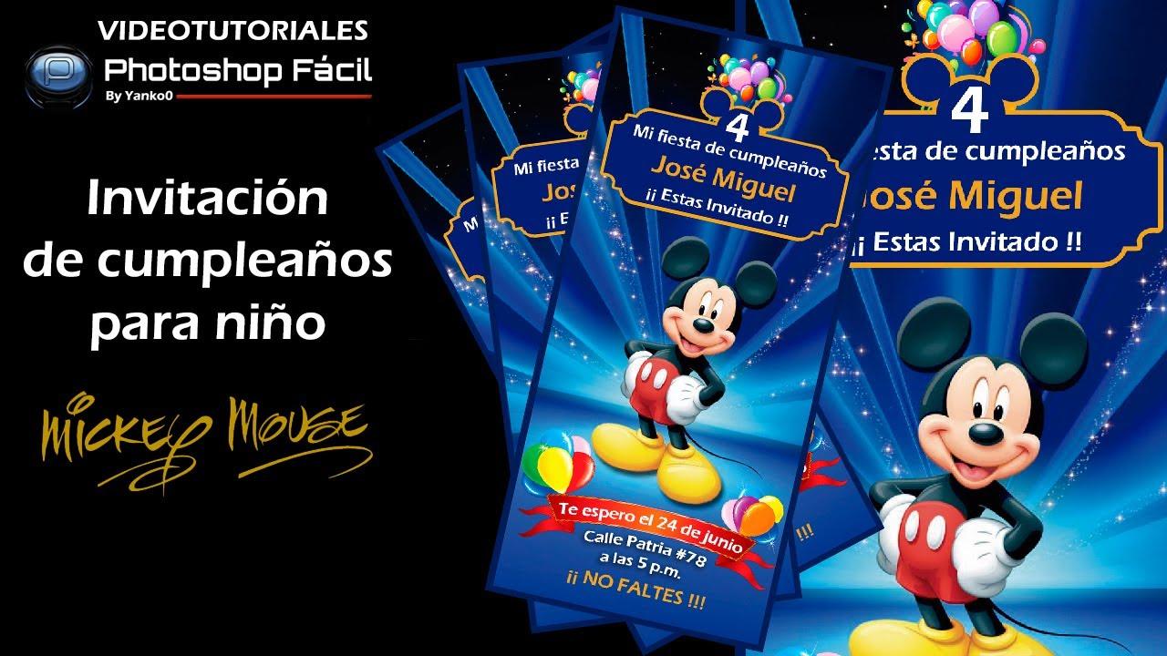 Invitación de Cumpleaños para Niño Photoshop by yanko0 YouTube