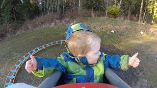 Back Yard Roller Coaster - Wyatt's First Ride