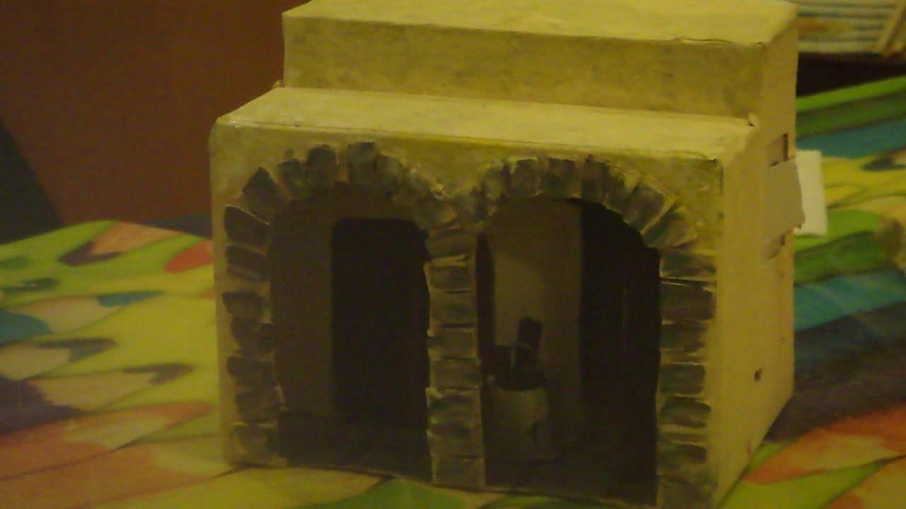 Casa de carton para belen pesebre con arcos youtube - Casas para belenes hechas a mano ...