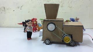 Máy xay gạo mini từ bìa cát tông cho bé chơi-------Mini rice grinder from cardboard for baby play