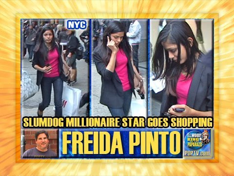 Slumdog Millionaire Star Freida Pinto Shops in NYC