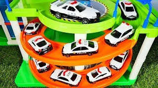 Car Park Toy Police Cars Tomica Driving Videos for Kids