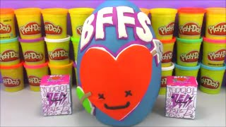 Giant BFFS Kidrobot Surprise Egg Play Doh With Disney Minecraft MLP Toys and More!