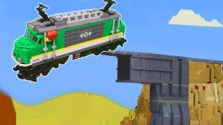 Train Crash w/ Fire Truck, Police Cars & Lego Construction Toy Vehicles for Kids