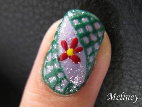 Nail Art Pen Tutorial - Jungle Vine Flower nails inspired by julieg713 & Love4Nails Video