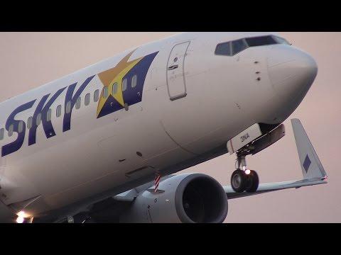 ど迫力の爆近離陸!!! Skymark Airlines Boeing 737 JA73NA 茨城空港