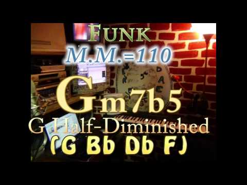 Gm7b5 Half-Diminished (G Bb Db F) One Chord Backing Track - Funk M.M.=110