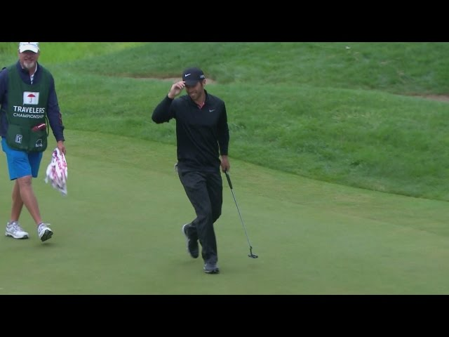 Paul Casey's impressively long birdie putt on the par-3 8th hole at Travelers