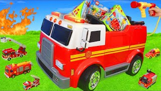 Fire Truck Ride on w/ Fireman & Toy Vehicles Play Unboxing & Toys Construction Assembling for Kids