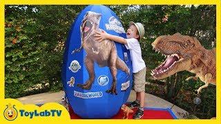 GIANT EGG SURPRISE OPENING Jurassic World Dinosaur Toys Kids