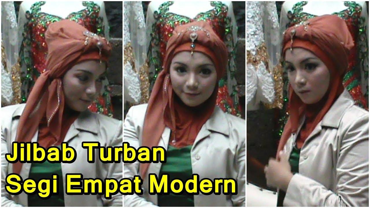 ... Memakai Jilbab Turban Segi Empat Modern untuk Pesta by Revi - YouTube