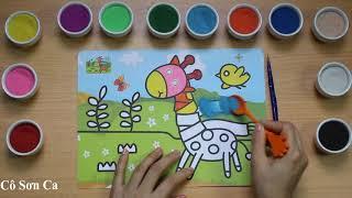 Cô Sơn Ca * Tô Màu Tranh Cát -  Hươu Cao Cổ   colored sand painting toys (Co Son Ca)